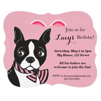 Boston Terrier Pink Birthday Custom Invitation