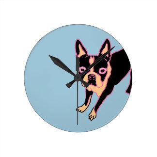 Boston Terrier (pink/blk) Round Clock