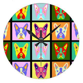 Boston Terrier Pop Art Large Clock