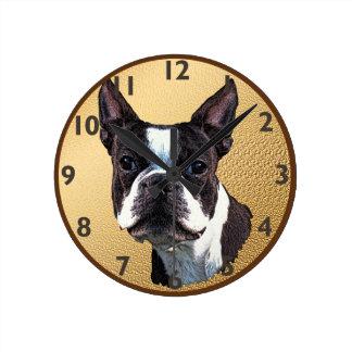 Boston Terrier Portrait Round Clock