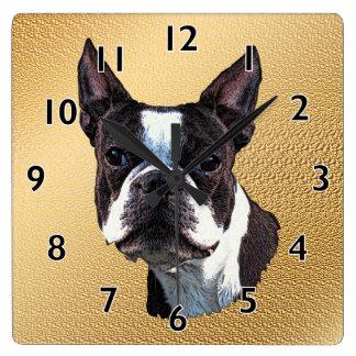 Boston Terrier Portrait Square Wall Clock