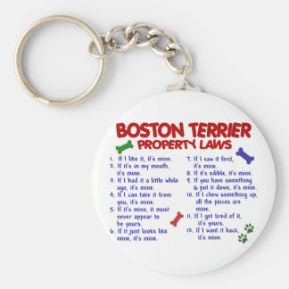 Boston Terrier Property Laws 2 Basic Round Button Key Ring