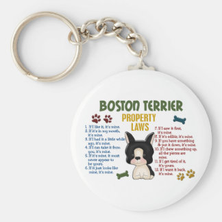 Boston Terrier Property Laws 4 Basic Round Button Key Ring