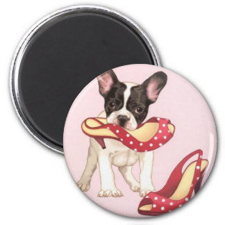 Boston Terrier Puppy With Shoes 6 Cm Round Magnet