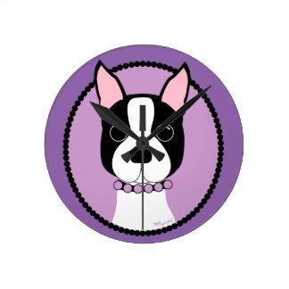 Boston Terrier Purple Round Clock