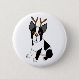 Boston Terrier Reindeer 6 Cm Round Badge