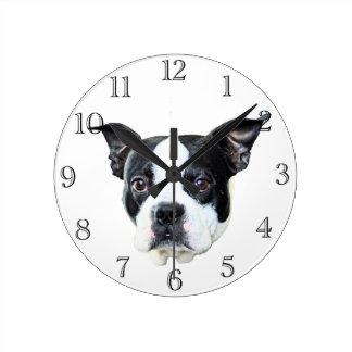 Boston terrier round clock