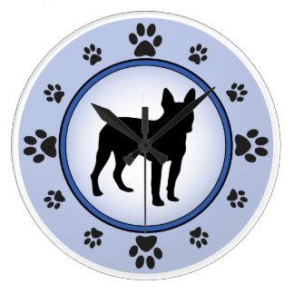 Boston Terrier Silhouette Large Clock
