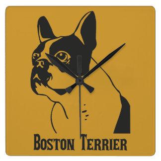 Boston Terrier Square Wall Clock