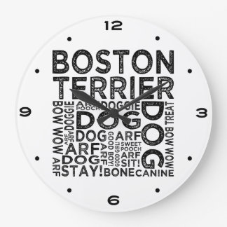 Boston Terrier Typography Large Clock