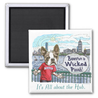 Boston Terrier Wicked Pissah Gear Square Magnet