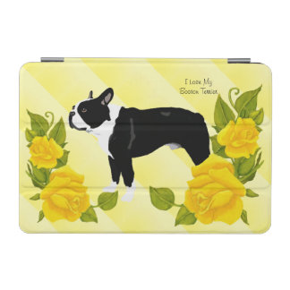 Boston Terrier with Yellow Rose iPad Mini Cover