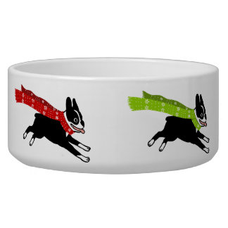 Boston Terriers Wearing Coloured Scarves Dog Bowl