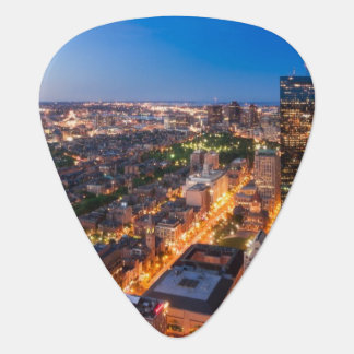 Boston's skyline at dusk plectrum
