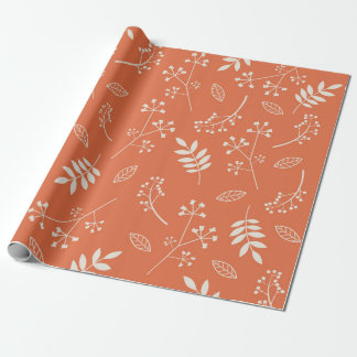 Botanical Floral Leaves Greenery Orange Wrapping Paper