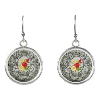 botanical frame red yellowroses grunge background earrings