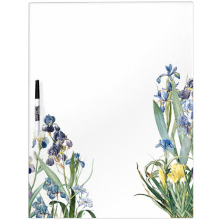 Botanical Iris Flowers Floral Redoute Garden Dry Erase Board