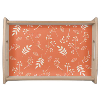 Botanical Leaf Nature Floral Orange Serving Platters