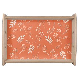 Botanical Leaf Nature Floral Orange Serving Platters