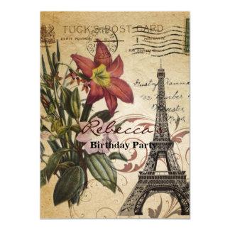 Botanical Lily vintage scripts Paris Eiffel Tower Card