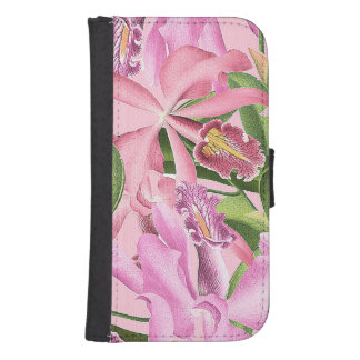 Botanical Orchid Flowers Floral Tropical Samsung S4 Wallet Case
