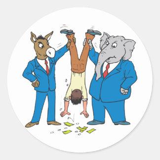 Both Parties Suck Round Sticker