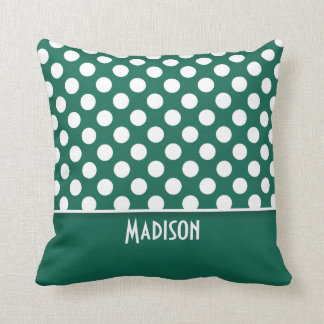 Bottle Green Polka Dots; Personalized Throw Pillow