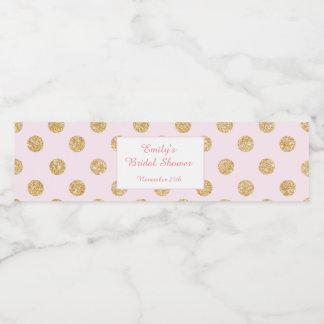 Bottle Label Glitter Gold Blush Pink Bridal Shower
