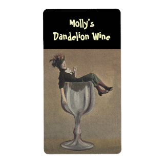 Bottle Labelling Funny Lady Wine Glass