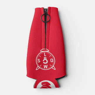 Bottle with CorleyQ logos on red background Bottle Cooler