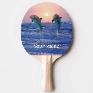 Bottlenose Dolphin at Sunrise Ping Pong Paddle