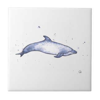 Bottlenose dolphin sea illustration small square tile