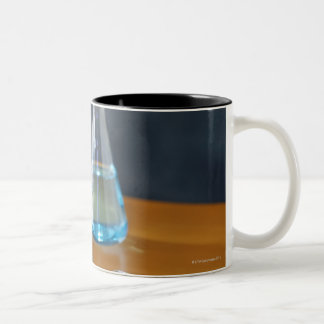 Bottles arranged for science experiment Two-Tone mug