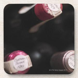 Bottles of wine, close-up, Sweden. Coaster