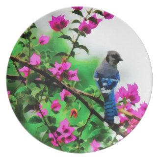 Bougainvillea Blue Jay Melamine Plate