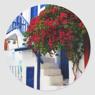 Bougainvillea growing outside a house, Mykonos Classic Round Sticker
