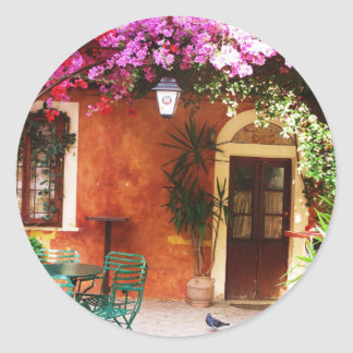 Bougainvillea growing outside a house, Mykonos, Gr Classic Round Sticker