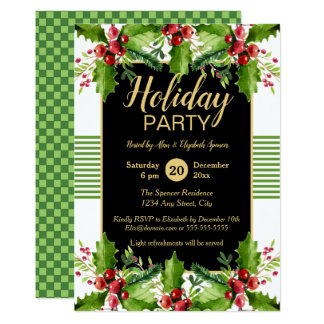 Boughs of Holly Holiday Party Invitation