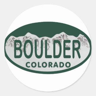 Boulder license oval classic round sticker