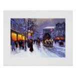Boulevard de la Madeleine, Winter. Fine Art Poster
