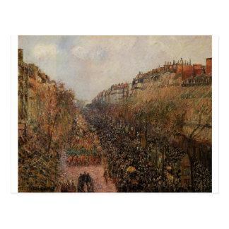 Boulevard Montmartre Mardi Gras by Camille Pissarr Postcard