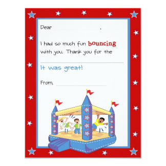 Bounce House Fill-in-the-Blank Thank You Card 11 Cm X 14 Cm Invitation Card