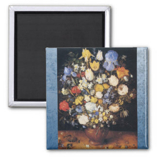 Bouquet in a clay vase square magnet