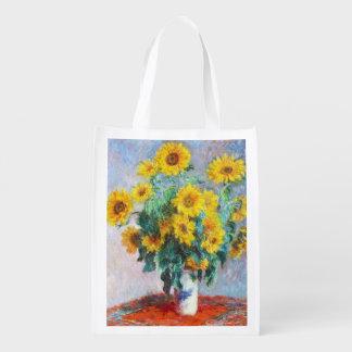 Bouquet of Sunflowers, 1880 Claude Monet art Reusable Grocery Bag