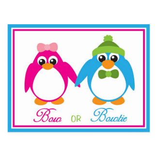 Bow or Bowtie Penguin Gender Reveal Invitations Postcards