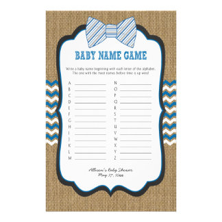 Bow Tie Baby Shower Games phone/baby name 14 Cm X 21.5 Cm Flyer