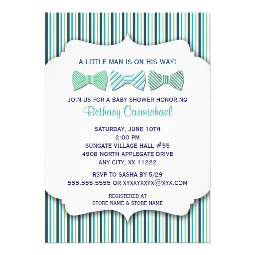 Bow Tie Baby Shower Invitation / navy turquoise