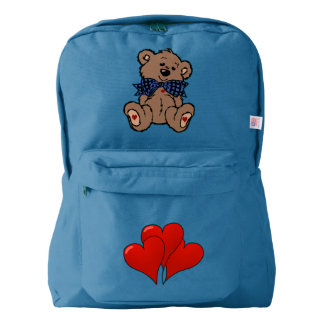 Bow Tie Sweetheart Brown Teddy Bear with Hearts Backpack