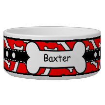 Bow Wow Doggie Bones Colourful Red and Black Pet Water Bowl