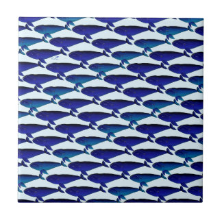 Bowhead Whale Pattern in Blue Tile